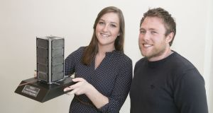 Maeve Doyle, PhD student, UCD School of physics research and development with Joe Thompson, PhD student, UCD school of mechanical and materials engineering. Photograph: Colm Mahady/Fennells Photography