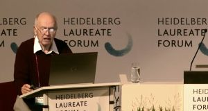 British-Lebanese mathematician Michael Atiyah giving a lecture on the Riemann hypothesis on Monday at the Heidelberg Laureates Forum in Germany. Screengrab: YouTube