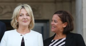 Sinn Féin leader Mary Lou McDonald (right) with the party's presidential candidate Liadh Ní Riada as she hands in her nomination papers at the Custom House in Dublin. Photograph: Niall Carson/PA