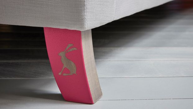One of the signatures of the Jools range is a single back leg that is painted pink with a silhouette of a tiny little rabbit on it.
