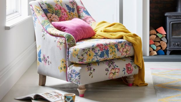 The printed velvet chair, part of the new Jools collection for DFS, costs €989.