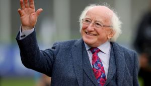 President Michael D  Higgins at Tallaght Stadium. Higgins's supporters said he would formally launch his campaign on Wednesday.  Photograph: Oisín Keniry/Inpho