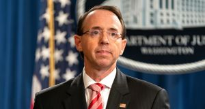 US deputy attorney general Rod Rosenstein. Photograph: Jim Lo Scalzo/EPA
