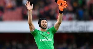 Arsenal goalkeeper Petr Cech after beating Everton on Sunday. Photograph: PA