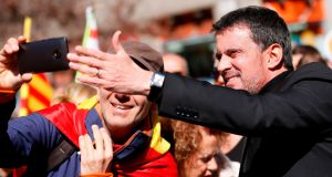 Manuel Valls during a demonstration to support the unity of Spain in Barcelona. Photograph: Pau Barrena/AFP/Getty Images