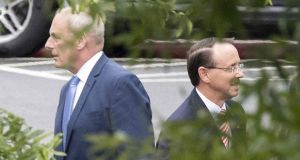White House chief of staff John Kelly  and deputy attorney general Rod Rosenstein following a meeting at the White House on Monday. Photograph: Jim Watson/AFP/Getty Images