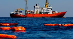 The Aquarius rescue vessel in June 2018: it is the one remaining charity rescue vessel still operating in the central Mediterranean area. Photograph: Pau Barrena/AFP/Getty Images