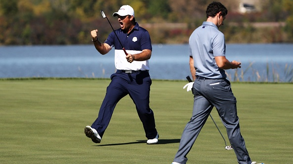 Patrick Reed and Rory McIlroy in the heat of battle at Hazeltine. Photograph: Sam Greenwood/Getty Images