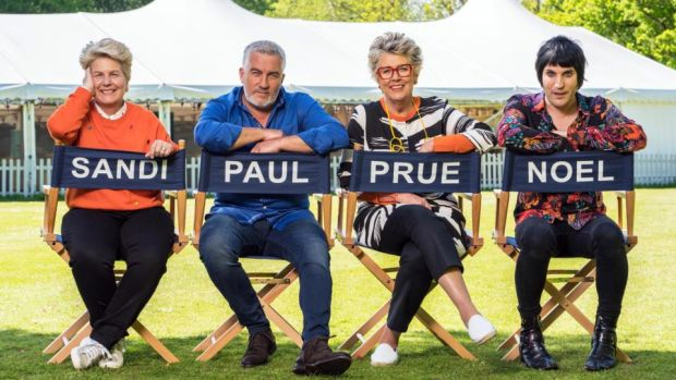 Great British Bake Off: Prue Leith with her fellow judge Paul Hollywood and the show's presenters, Sandi Toksvig and Noel fielding. Photograph: Channel 4