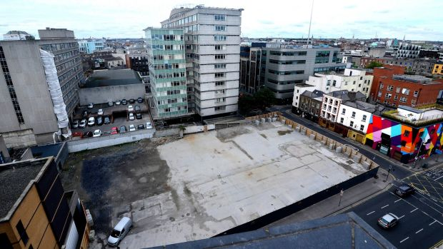 The newly cleared Apollo House site on the junction of Tara Street and Poolbeg Street in Dublin city centre. Photograph: Cyril Byrne