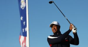 Tiger Woods of USA at Le Golf National in Paris  ahead of the Ryder Cup. Photograph: Jamie Squire/Getty Images