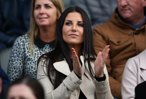 LOOKING ON: Liam Miller's wife Clare at the tribute game. Photograph: James Crombie/INPHO