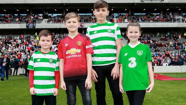 Liam Miller's nephew Tom with the late footballer's children Leo, Kory and Belle at Páirc Uí Chaoimh. Photograph: Tommy Dickson/Inpho