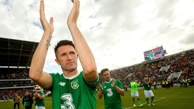 Former Republic of Ireland captain Robbie Keane after the tribute match for his former team-mate in Cork. Photograph: James Crombie/Inpho