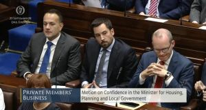 Taoiseach Leo Varadkar and Tánaiste Simon Coveney are pictured with  Minister for Housing Eoghan Murphy (centre) during a motion of confidence in the Dáil on Mr Murphy on Tuesday. Image: Oireachtas screengrab.