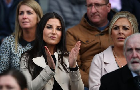 Liam Miller's wife, Clare, at the game. Photograph: Inpho/James Crombie