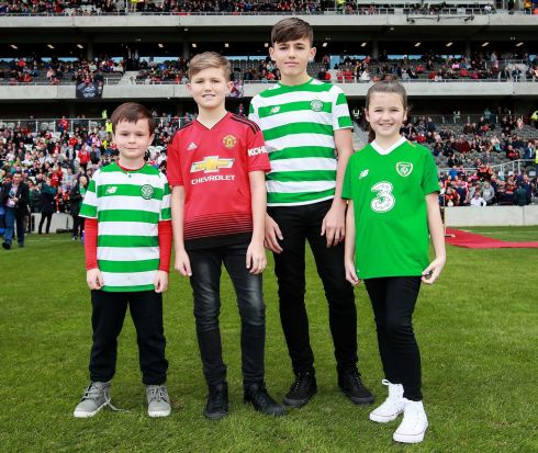 Liam Miller's nephew Tom with the late footballer's children Leo, Kory and Belle. Photograph: Tommy Dickson/Inpho