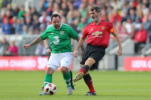 Celtic and Republic of Ireland Legends' Andy Reid (left) and Manchester United Legends' Roy Keane. Photograph: Niall Carson/PA Wire.