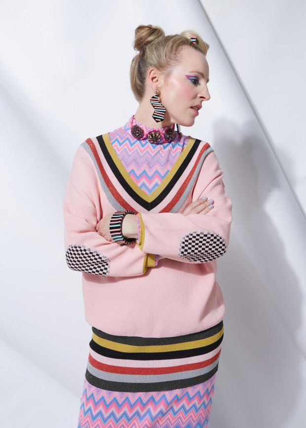 Joanne Hynes for Dunnes Stores: zigzag knit dress €100, pink V-neck jumper €90, graphic-stripe ear-rings €15