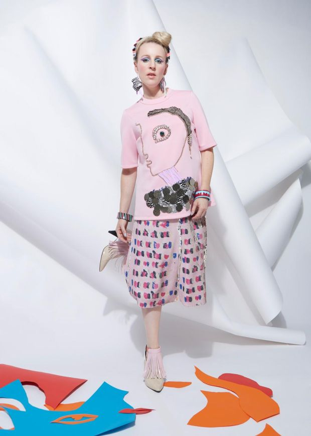 Joanne Hynes for Dunnes Stores: lipstick-stroke sequin print skirt €120, Forever Muse lady T-shirt €120, graphic stripe bangle €15, curved zigzag bangle €15, bad-hair-day headband €25
