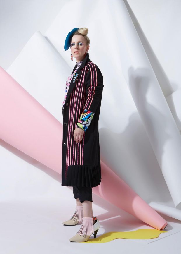 Joanne Hynes for Dunnes Stores: rope-embroidered coat €190, Buffalo Girl cuff top €90, landscape brooch €20, resin ear-rings €15, heatstone trousers €120