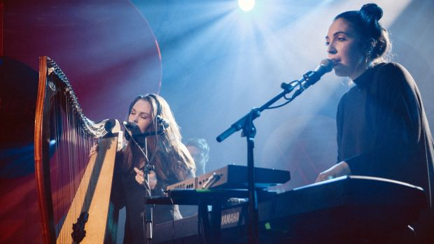 Saint Sister duo Gemma Doherty and Morgan MacIntyre on stage at Other Voices 2016 in Dingle, Co Kerry. Photograph: Rich Gilligan