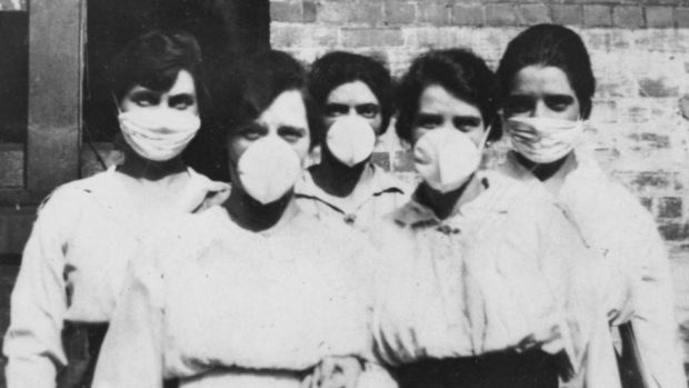 The Flu That Killed 50 Million: women in masks in Australia; the press censored reports of the pandemic. Photograph: State Library of Queensland/BBC