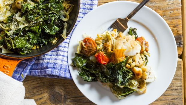 Monkfish with pastis, cherry tomatoes, fennel and kale. Photograph: Emma Jervis