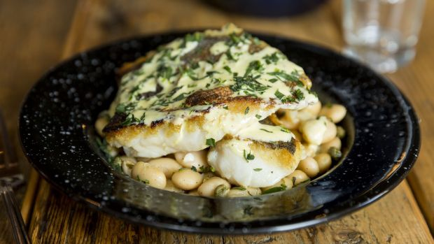 Hake with mayonnaise and capers. Photograph: Emma Jervis