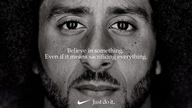 "Nike is asking customers to emulate Kaepernick, to ""believe in something, even if it means sacrificing everything"". Photograph: Nike/Reuters"