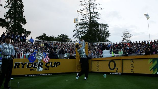 Jim Furyk tees off at the much smaller first tee amphitheatre at the K Club in 2006. Photo: David Cannon/Getty Images