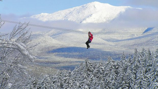 Those brave enough can zipline 213 metres over the icy Pemigewasset river