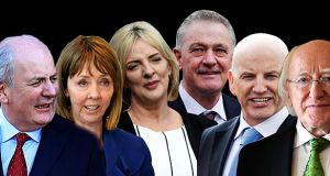 The candidates: Gavin Duffy, Joan Freeman, Liadh Ní Riada, Peter Casey, Sean Gallagher and President Michael D Higgins
