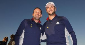 Sergio Garcia and Jon Rahm of Europe pose during a photocall ahead of the 2018 Ryder Cup at Le Golf National in Paris, France. Photo: Christian Petersen/Getty Images
