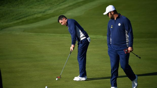 Rory McIlroy and Rahm could form a partnership at some stage after practicing together. Photo: Franck Fife/Getty Images