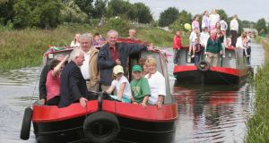 The 200th anniversary of the birth of William Rowan Hamilton, in 2005:  then minister for state Noel Treacey with TDs Joe Costello  and the late Tony Gregory and members of the Cabra Community Centre Project  on their way to Broombridge for the unveiling of a plaque.