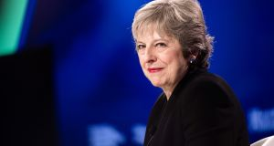 "UK prime minister Theresa May: selling a sea border looks hopeless now, inseparable from ""dividing our country in two"", to quote Ms May after the disastrous Salzburg summit. Photograph: Mark Kauzlarich/Bloomberg"