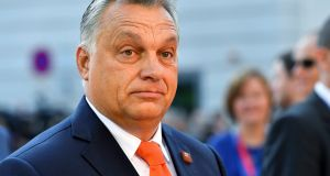 Hungarian prime minister Viktor Orban arrives at the informal EU summit in Salzburg. Photograph: Kerstin Joensson/AP Photo