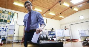 Minister for Health Simon Harris  votes in the referendum on the Eighth Amendment in May: some 34 per cent of the electorate opposed the introduction of abortion. Photograph: Nick Bradshaw