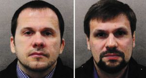 British prosecutors charged two Russians – Alexander Petrov and Ruslan Boshirov – with attempted murder for the Novichok poisoning of the Skripals in March. Photograph: PA