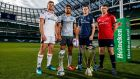 At the launch of the Heineken Champions Cup and  European Rugby Challenge Cup in Dublin were  Jordi Murphy (Ulster), Jarrad Butler (Connacht), Jonathan Sexton (Leinster) and Peter O'Mahony (Munster). Photograph: James Crombie/Inpho