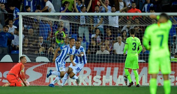 ed5b8498dda Leganes' Oscar Rodriguez celebrates his team's second goal in their La Liga  win over Barcelona