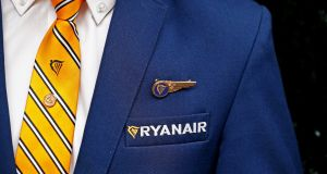 A Ryanair cabin crew member. Photograph: François Lenoir/File Photo/Reuters