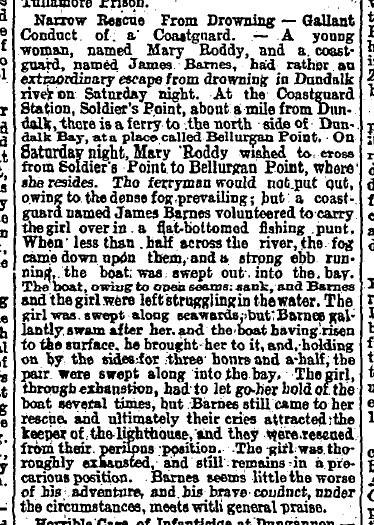 A report on the rescue of George's grandmother in 'The Irish Times', August 16th, 1884.
