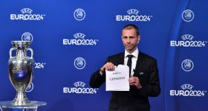 Uefa president Aleksander Ceferin announces Germany as the hosts for the 2024 European Championships. Photo: Fabrice Coffrini/Getty Images