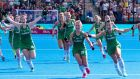 Ireland's Róisín Upton, Chloe Watkins and Anna O'Flanagan celebrate winning the penalty shoot-out in their World Cup semi-final against Spain in August. Photograph: Sandra Mailer/Inpho