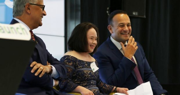 Mei Lin Yap, who works with CPL Resources, with Ivan Menezes of Diageo and Taoiseach Leo Varadkar at the launch of Open Doors. Photograph: Nick Bradshaw