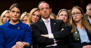 US deputy attorney general Rod Rosenstein spoke briefly to President Donald Trump on Thursday, the White House said. Photograph: Doug Mills/New York Times