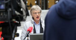 Minister for Children Katherine Zappone making a brief statement on recent developments at Scouting Ireland on Thursday.  Photograph: Bryan James Brophy