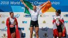 Ireland's Sanita Puspure celebrates her gold medal at the World Rowing Championships. Photo: Darko Vojinovic/Reuters